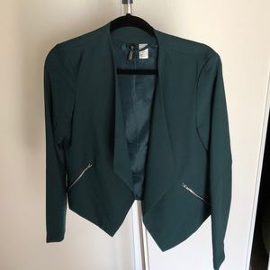 Forest green h and m drape front jacket